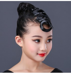 Girls kids latin ballroom dance competiiton hair bangs genuine wig bangs for latin dance